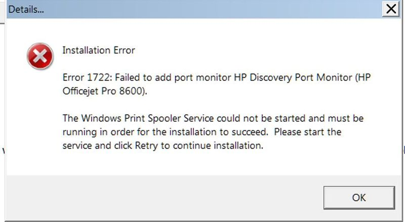 Unable to install software for Officejet Pro 8600 on Windows