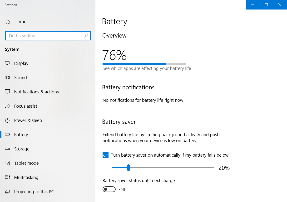 No battery Remaining Time in Windows 10  - HP Support