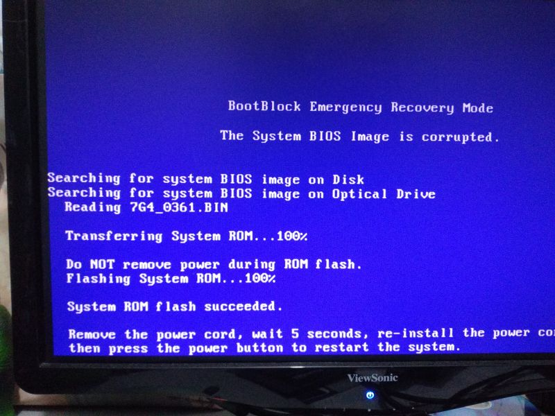 System BIOS image corrupted - HP Support Community - 6823682
