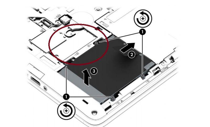SSD slot circled