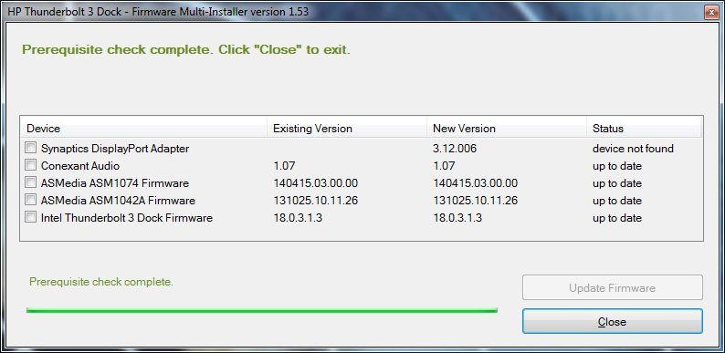 HP Thunderbolt 3 Dock - Firmware v 1 53 Upgrade issue - Disp    - HP