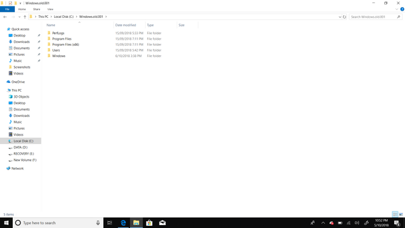 This is the Windows.old.001 folder it only contains stock windows apps and files.