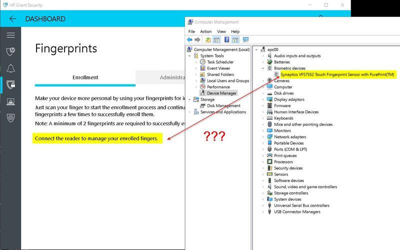 Solved: HP Client Security does not recognize fingerprint reader