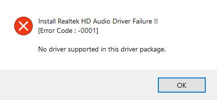 realtek audio driver not working after update