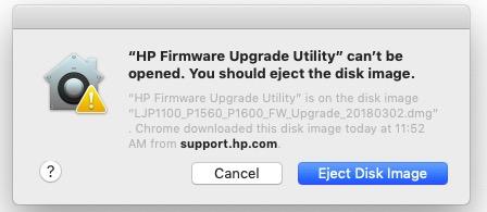 Firmware update for laserjet p1102w won't install on mac hp.
