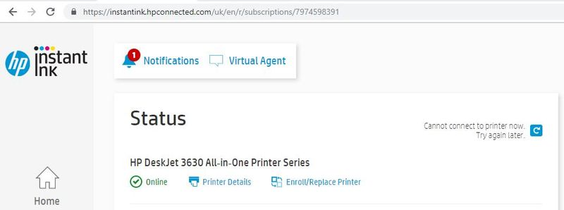 Hp Instant Ink Status Cannot Connect To Printer Now Hp Support