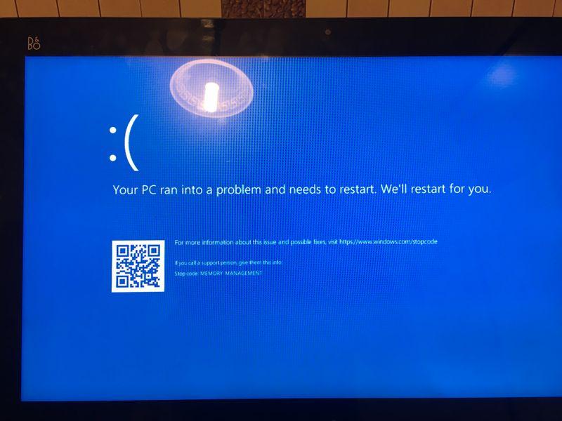 windows 10 stop code error memory management