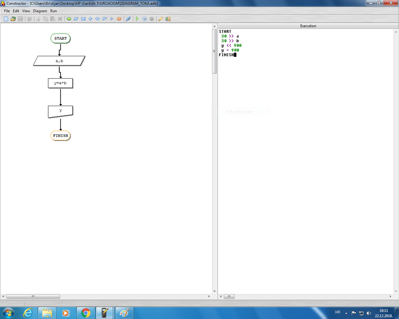 My first attempt of creating a flowchart which multiplies two number