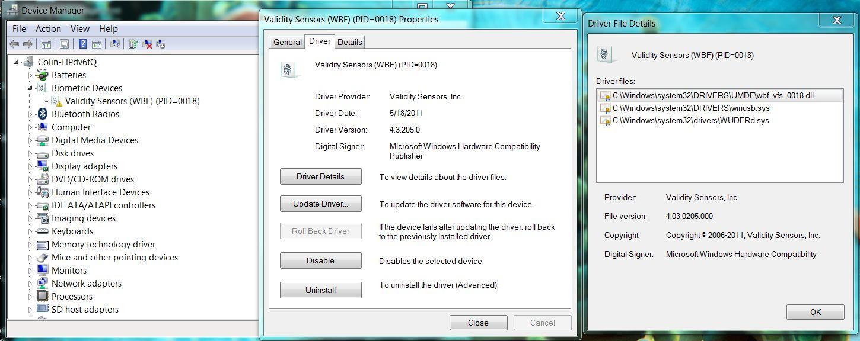 Validity sensors wbf pid 0018 скачать драйвер