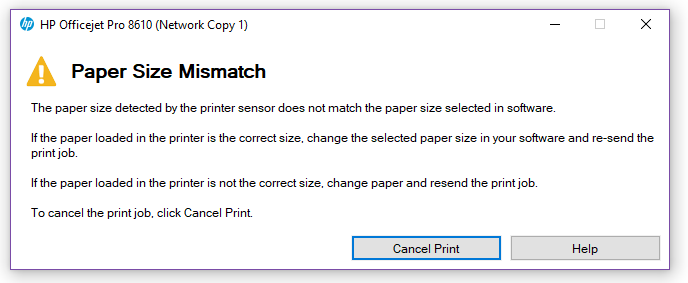 Solved: error message when attempting to print labels - HP Support