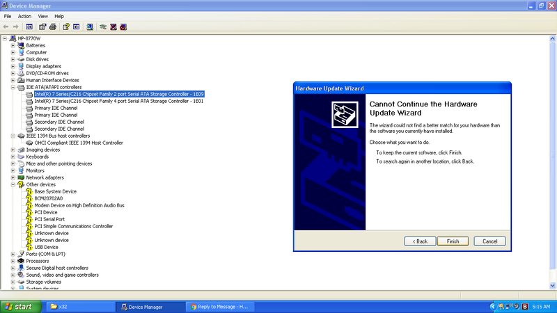 Solved: AHCI drivers for Windows XP on HP EliteBook 8770w