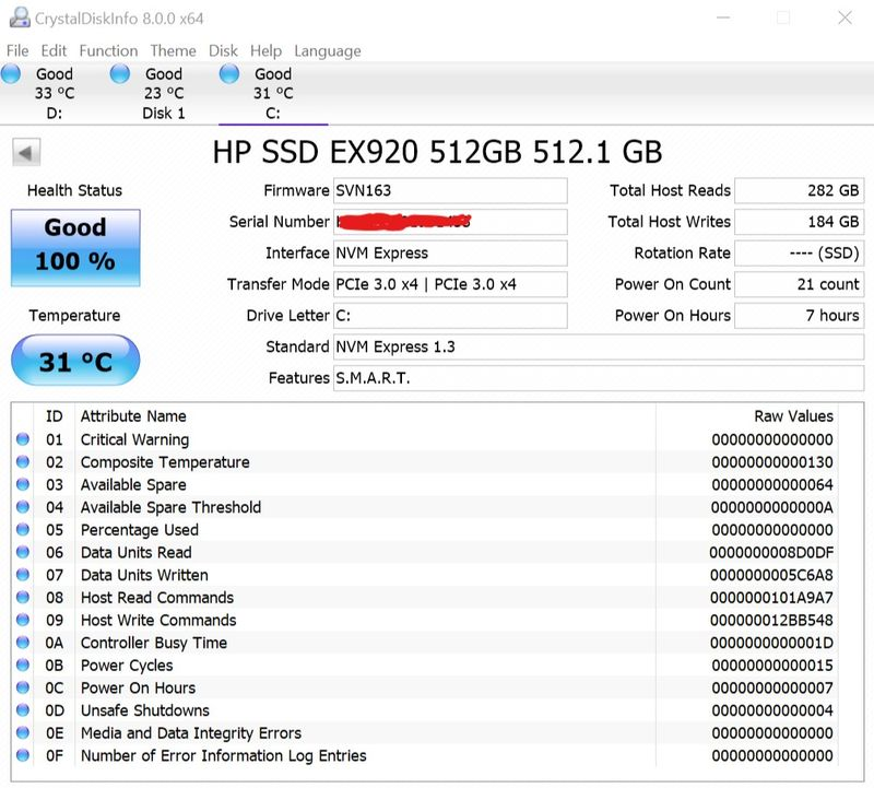 HP EX920 NVMe SSD can't be properly monitored temperature i
