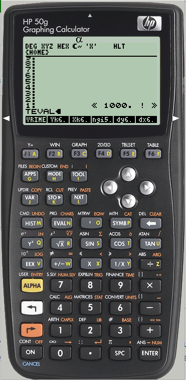 FIGURE 01 :  I used to type << 1000 ! >> TEVAL like you write in reply message