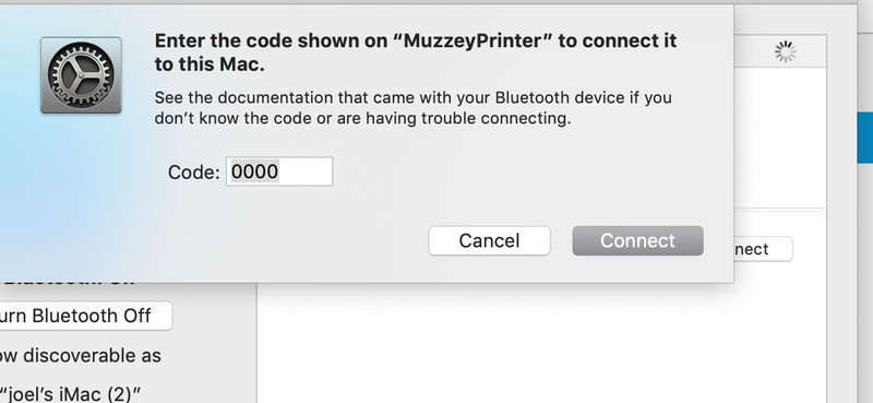 I need the code to connect my printer to my mac & use Blueto