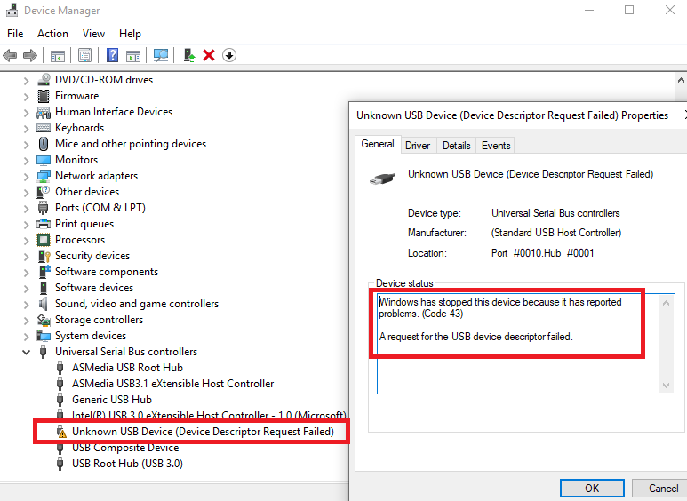 usb device_descriptor_failure driver download