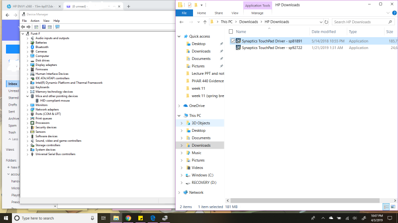 Touchpad not working, not showing up in device management (H