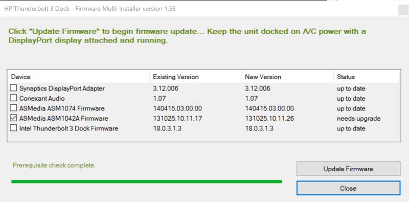 ThunderBolt 3 Firmware update not updating  - HP Support Community