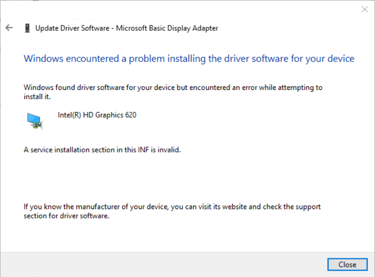 Solved: Driver for Intel (R) HD Graphics 620 - HP Support Community