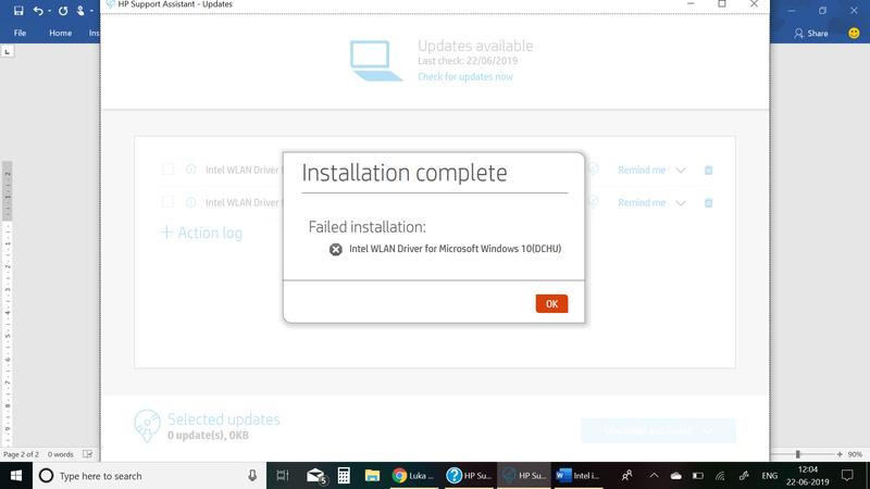 Intel WLAN update failed.png