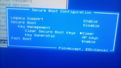 5: clear boot keys