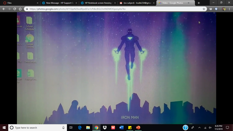 Screen freezes and pink & greenish vertical lines appear and    - HP