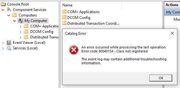 Solved: ProBook 430 G6 - COM+ Application Error 80040154