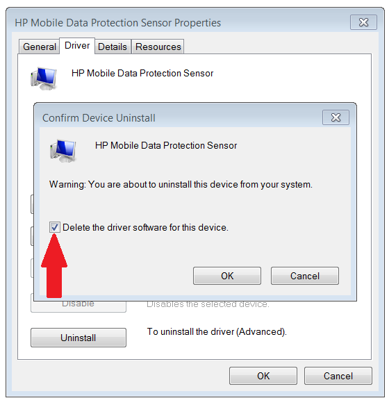 Uninstalling HP Mobile Data Protection Sensor - HP Support