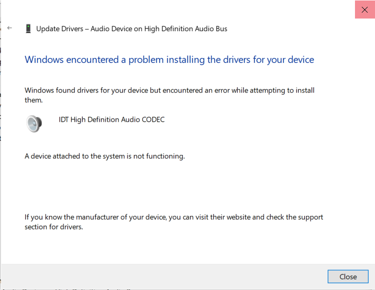 Updating from device manager