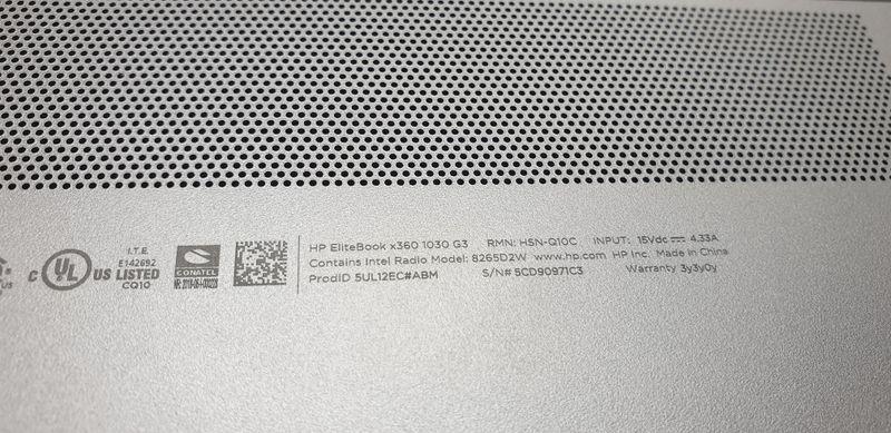 HP 1030 G3 QR code