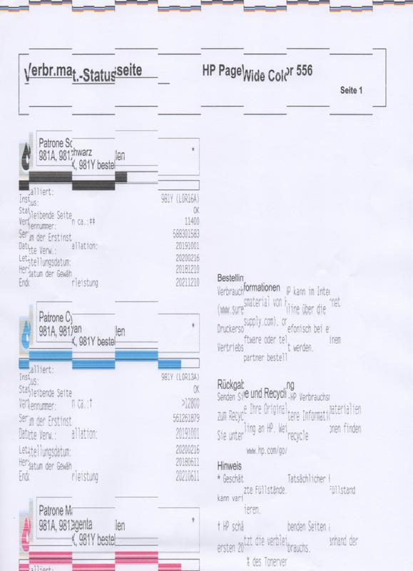 faulty print of HP556dn
