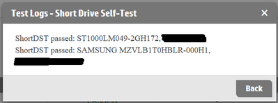 """""""SAMSUNG MZVLB1T0HBLR"""" is the SSD, showing it passed the Short Drive Self-Test that it doesn't support."""