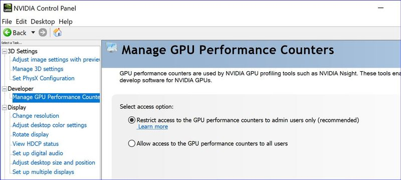 The Performance Counter settings in the NVIDIA control panel