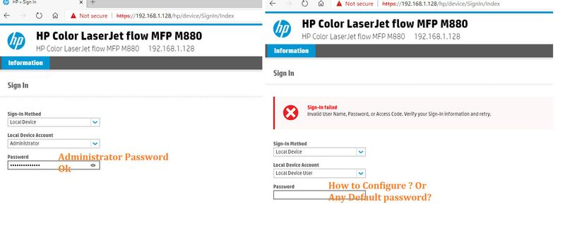 Solved Hp Color Laserjet Flow Mfp M880 Local Device User Passw Hp Support Community 7524497