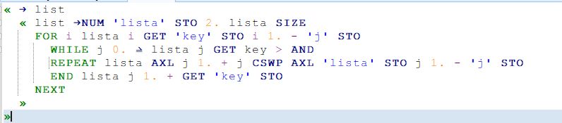 my code for insertion sort