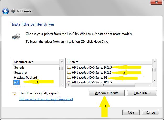 Can't connect to hewlett packard laserjet 4000n printer windows.