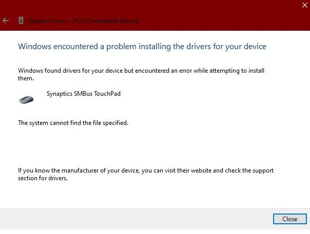 this window appears whenever i try to update/download the driver