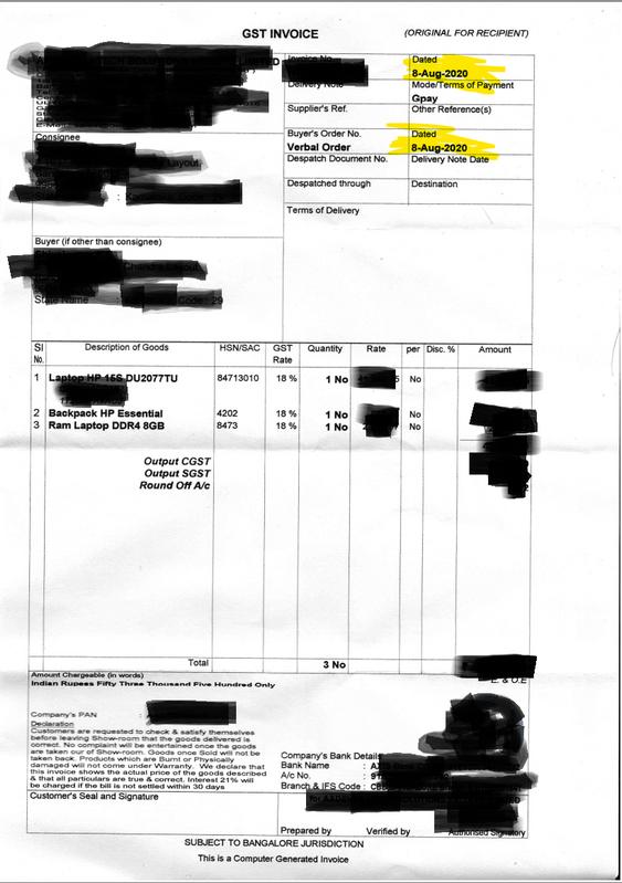 Invoice date 08th Aug 2020