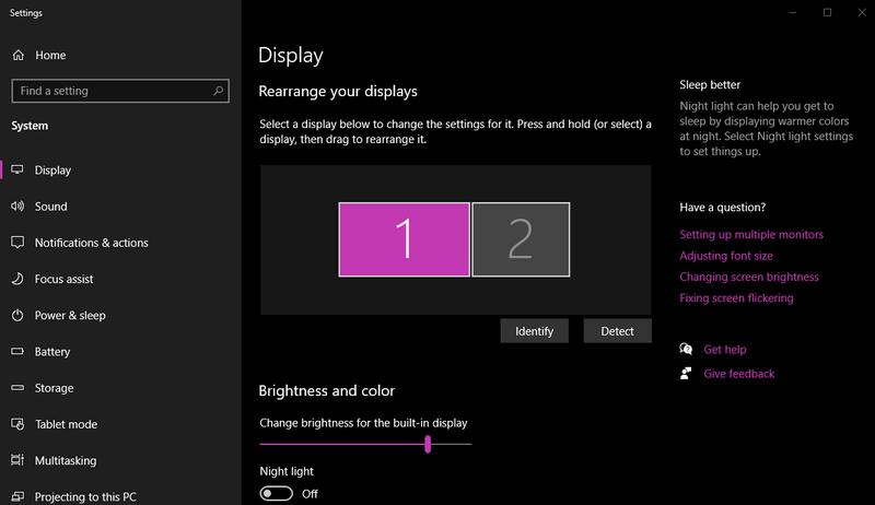 Laptop Display settings
