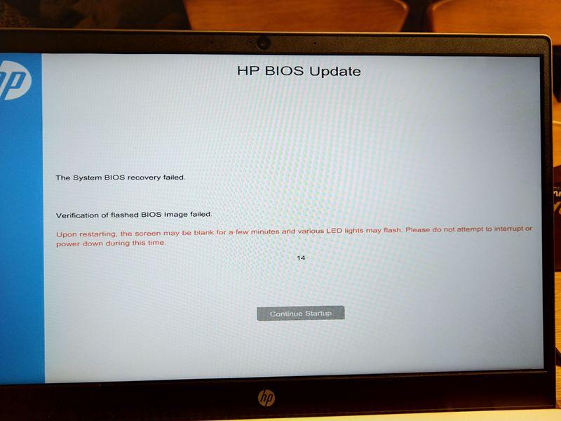 verification of flashed bios image failed