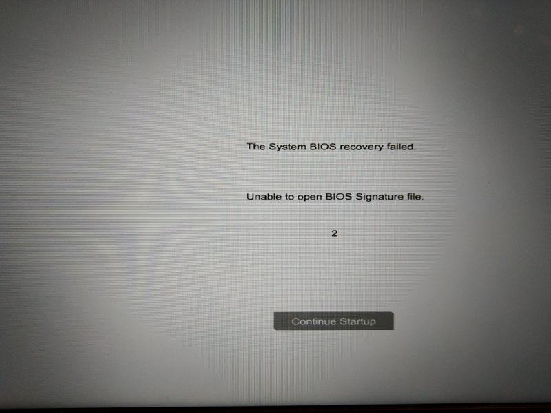 Unable to open BIOS signature file