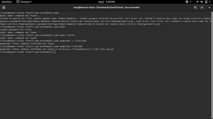 error while installing