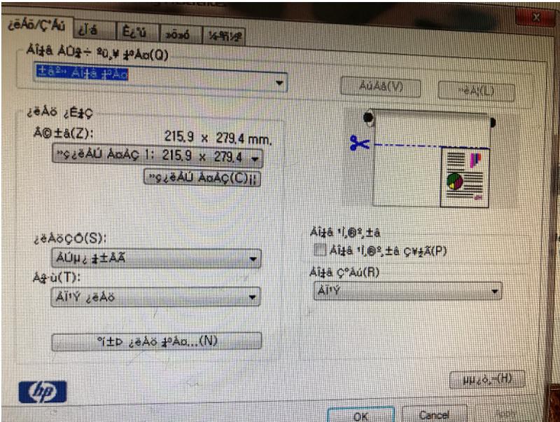 Printer Preference Screen