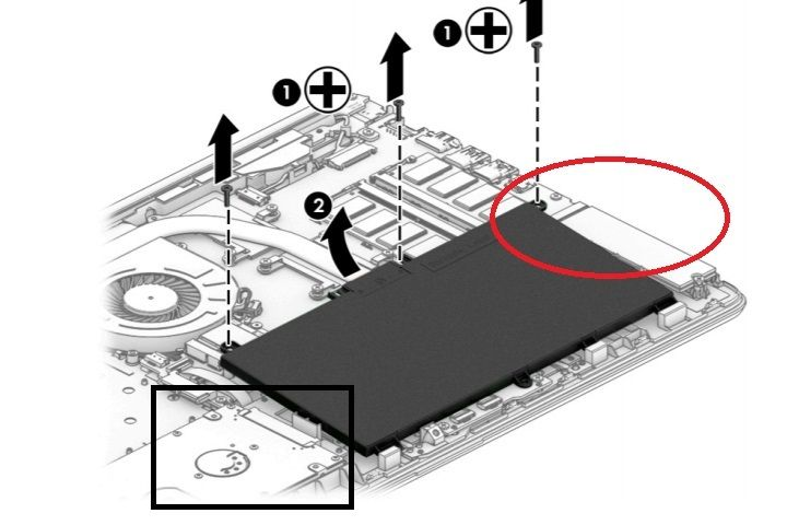 M.2 SSD in red circle; HDD bay in black square