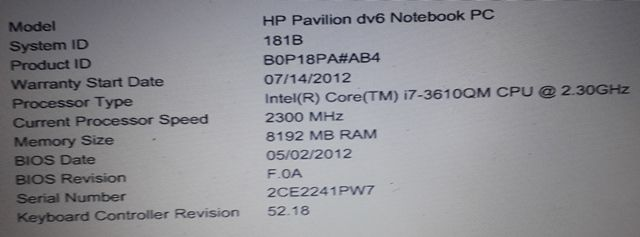 system info in bios at startup