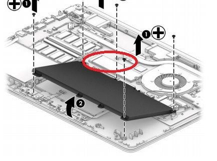 M.2 slot circled in red