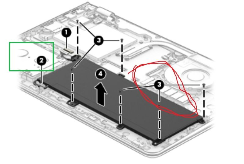 hard drive in green square M.2 circled in red