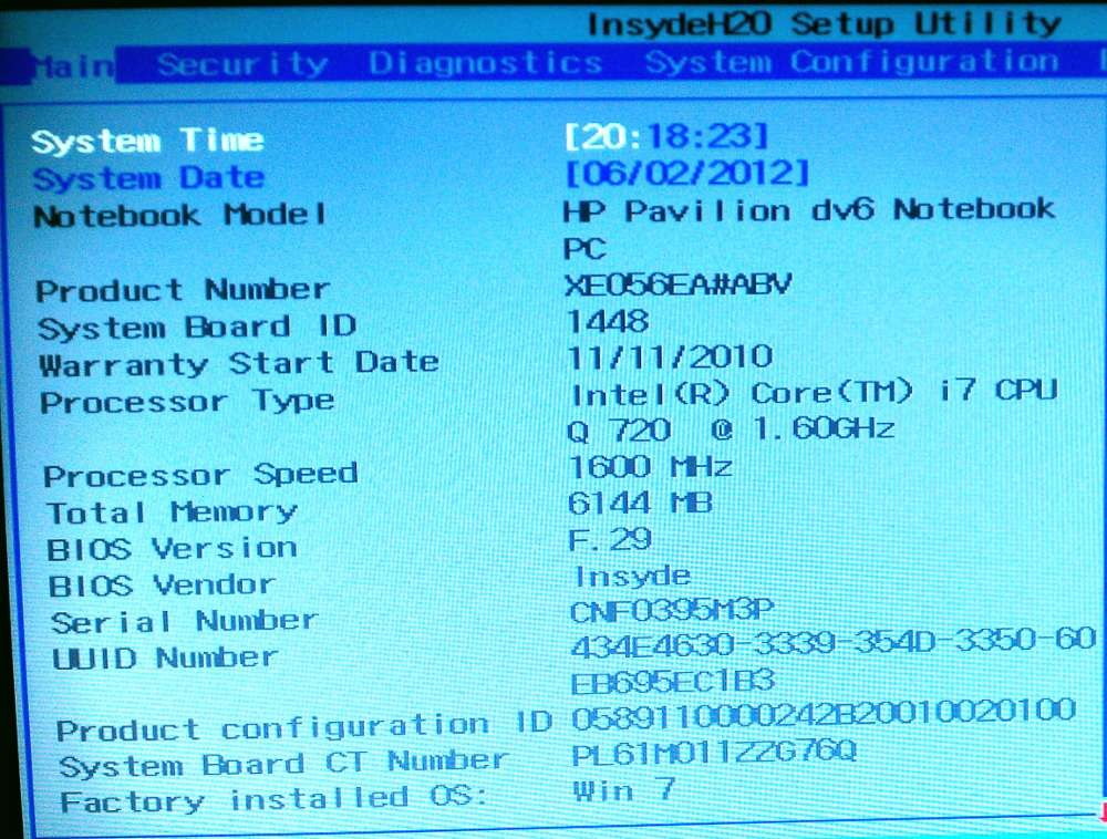 BIOS Screenshot