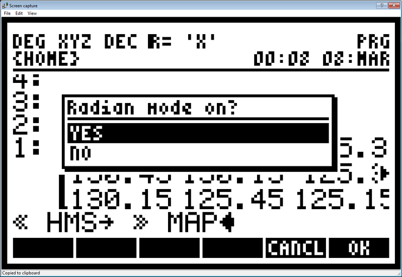 """""""Radian mode on?"""" Message"""