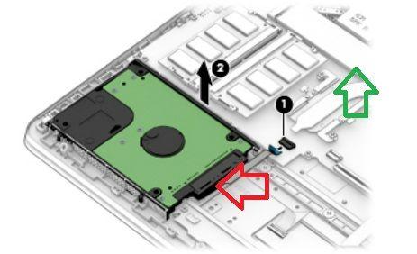 red arrow = HDD green arrow = M.2 slot