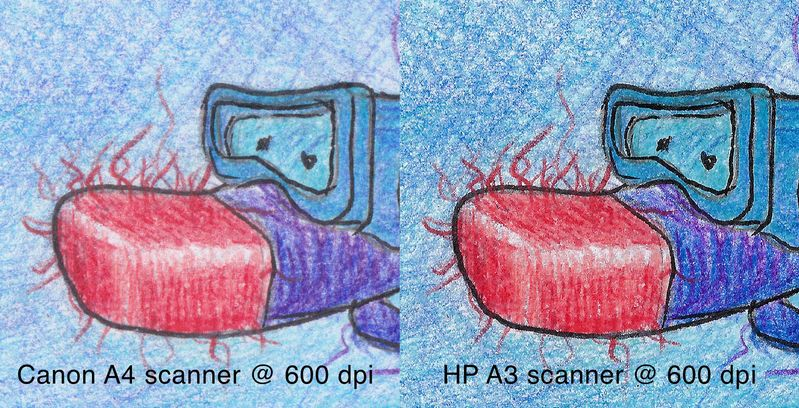 side by side Canon A4 scanner and HP A3 Scanner results